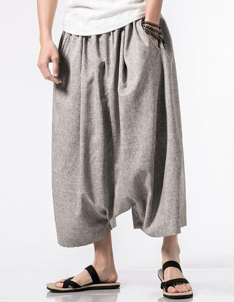 9394b3067ea New Linen Trousers Sirwal in Light Grey