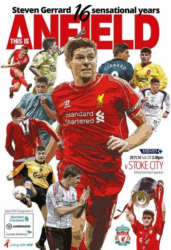 Steven Gerrard on the cover when Stoke visited to Anfield. Check out all the other programmes on my Pinterest Board.