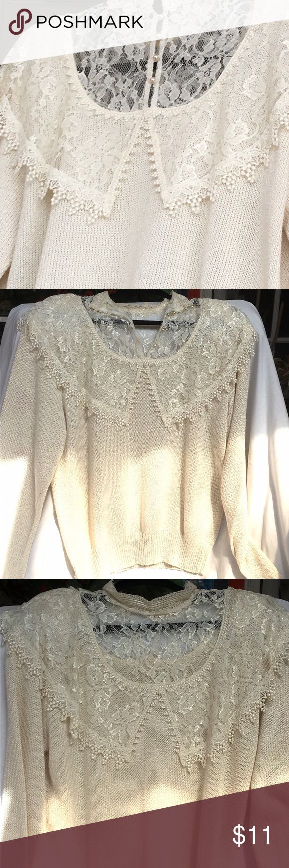 Beaded Sweater:🌈SALE🌈 I accept most offers! 🌈 This nameless soft size L beautifully beaded around neck and shoulders with lace overlay is so elegant. It has padded shoulders and wears nicely over a long khaki skirt or even jeans. Thank you for shopping my closet today! 🦋 None Sweaters Crew & Scoop Necks