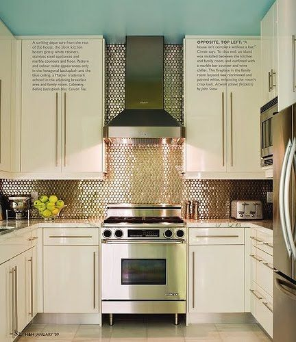 OMG, the backaplash would make any kitchen look amazing.  Gold mosaic tile, turquoise ceiling & white cabeints.    @msmarypasadena what could have been.  ;)