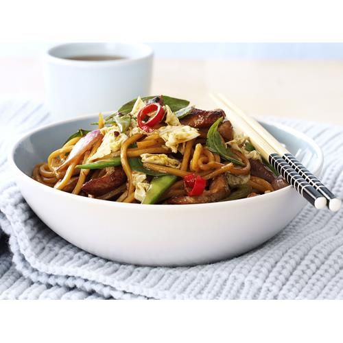 Pork, noodle and Thai basil stir-fry recipe. Whip up this flavour-packed pork stir-fry for a fast, filling weeknight dinner. #Thai #Noodles #Dinner #Pork