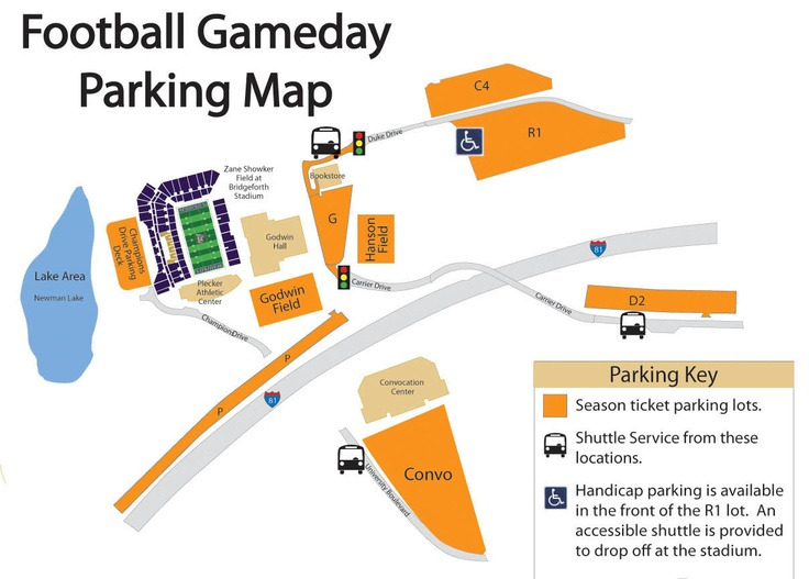 Football Parking Map for JMU Football 2012 - JMUSports.com—Official Web site of James Madison University Athletics