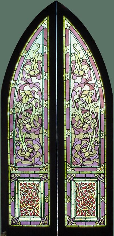 Pr. Antique American Arched Stained Glass Windows with at least 180 Chunk Jewels
