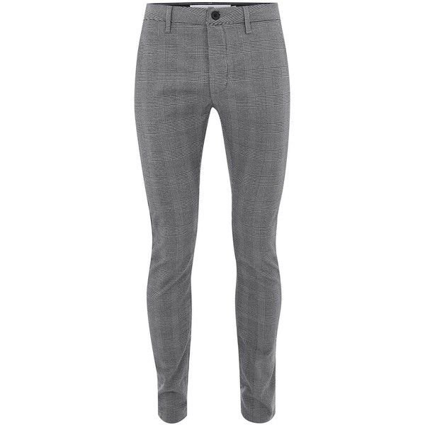 TOPMAN Grey Check Stretch Skinny Trousers (150 BRL) ❤ liked on Polyvore featuring men's fashion, men's clothing, men's pants, men's casual pants, grey, mens skinny fit dress pants, mens super skinny dress pants, mens checkered pants, mens polyester pants and mens skinny pants