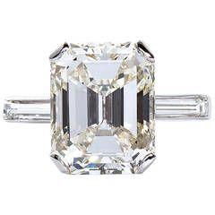 5.11 Carat Emerald Cut Diamond Platinum Engagement Ring