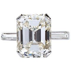 5.11 Carat Emerald Cut Diamond Platinum Engagement Ring