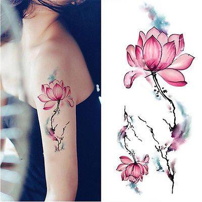 Blue Watercolor Lotus Flower Temporary Tattoo Waterproof Stickers ...