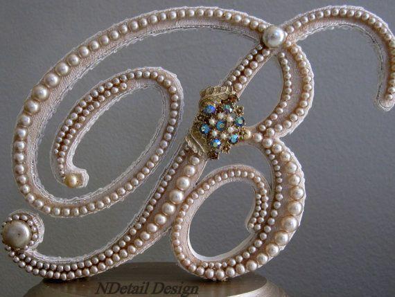 monogrammed, wedding cake topper, unique, pearls, details