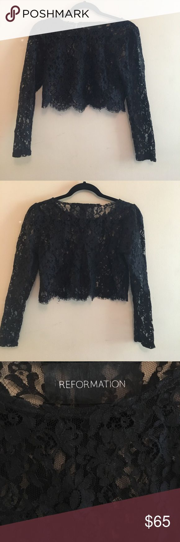 Reformation lace crop top Classic black lace reformation top from before the brand was so well-known. No liner, scalloped detail along hem, seam up back. In great condition, only worn a couple times.  Lace slightly undone in some places along hem and back of neckline due to ref's use of recycled material, not wear and tear. Condition looks as new when wearing! Reformation Tops Crop Tops