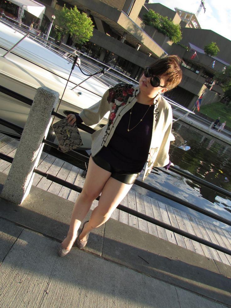 Aritzia leather shorts and vintage oriental print jacket