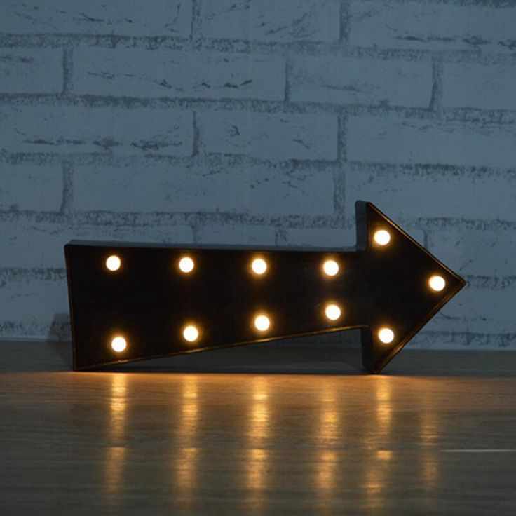 Metal Marquee LED Light Brown Arrow Sign