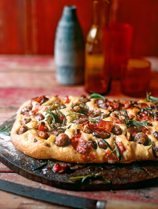 Chestnut, rosemary & pancetta focaccia -  Crisp bread topped with herbs & Italian bacon - An incredible bread - aromatic with rosemary, salty thanks to pancetta, and earthy from the chestnuts