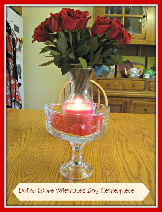 Valentine's Day Centerpiece made with a dollar store glass candle holder and a candy dish