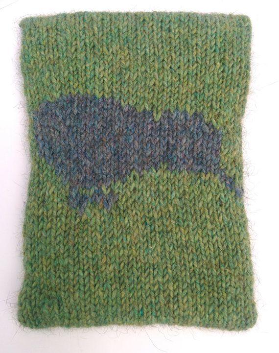 Handmade knitted kindle/iPad/iPad mini cover with Kiwi Bird design by RoamingWool