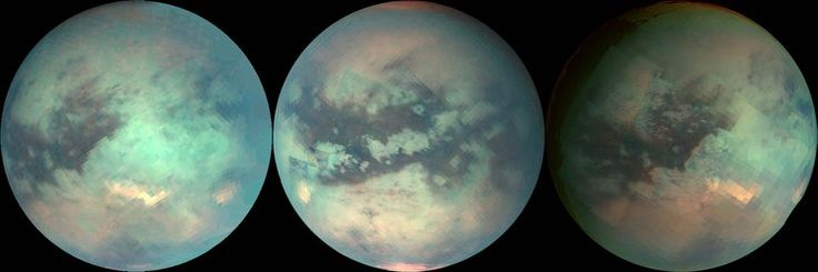 Titan Globes. TITAN: Titan is the largest of the 53 known moons orbiting Saturn. Despite its distance from the Sun, Titan is arguably one of the most Earth-like worlds we have found to date. With its thick atmosphere and complex, carbon-rich chemistry, Titan resembles a frozen version of Earth several billion years ago, before life began pumping oxygen into our atmosphere. Sensitive instruments onboard NASA's Cassini spacecraft peered through Titan's atmosphere to obtain these false-color…