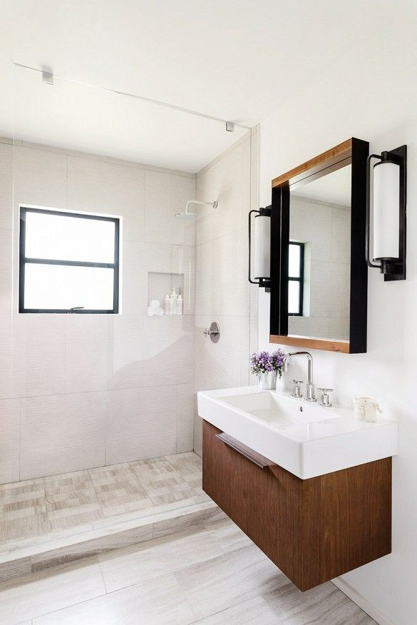 Home Tour: Inside An Interior Designer's Midcentury Renovation via @domainehome - Shower, mirror