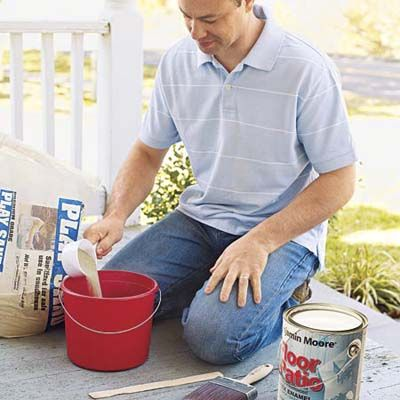 Basement stairs: adding sand to paint mixture