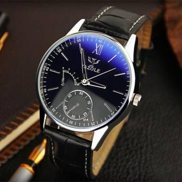 YAZOLE 314 Casual Business Roman Numeral PU Leather Band Watch