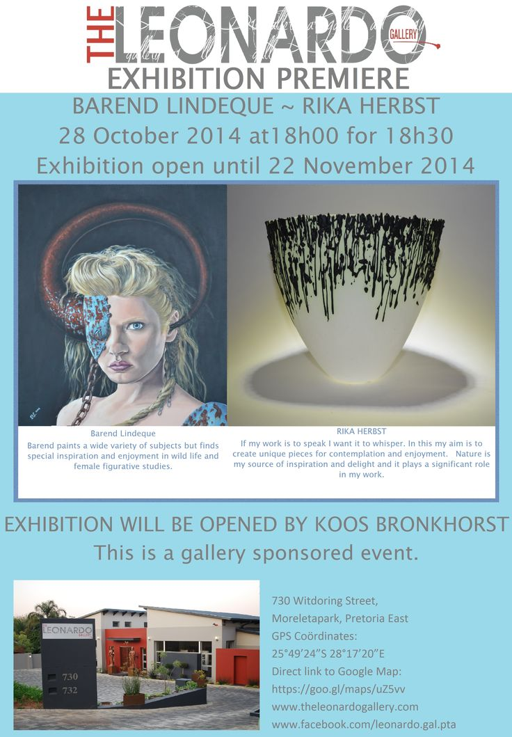 Exhibition Premiere evening for artists Barend Lindeque and Rika Herbst