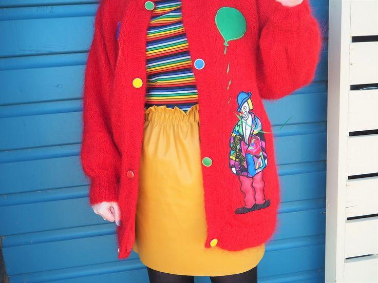 Vintage 80s mohair clown cardigans. Monki stripe top. Yellow Zara leather skirt.