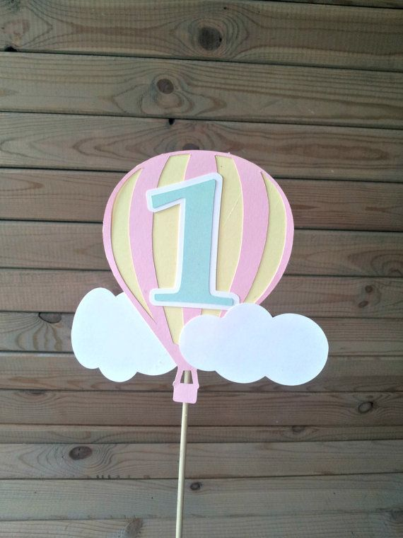 Pastel Hot Air Balloon Cake Topper  up up & away by Partyridge