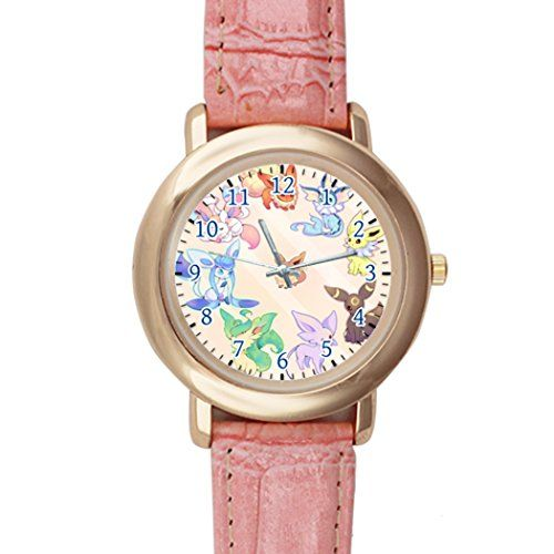 Pokemon Animated TV Series Eevee Evolution Display Pink Leather Analogue Dial Watch – Pokemon Watch