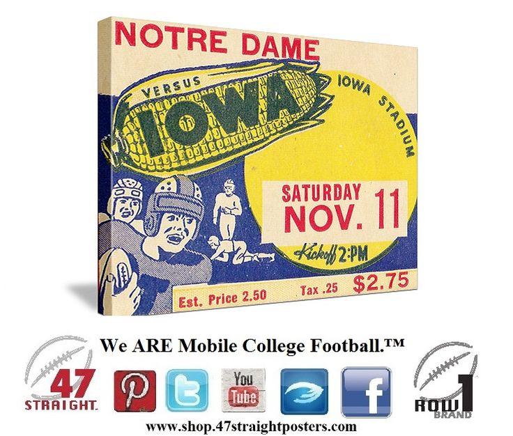 Iowa Hawkeyes football ticket art from 1939. Iowa  beat NotreDame. Heirs man winner Nile Kinnick played for Iowa.