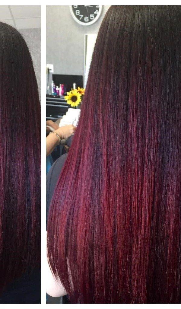 Crimson Highlights For Straight Hair Burgundy Hair With Highlights Burgundy Hair Brown Straight Hair