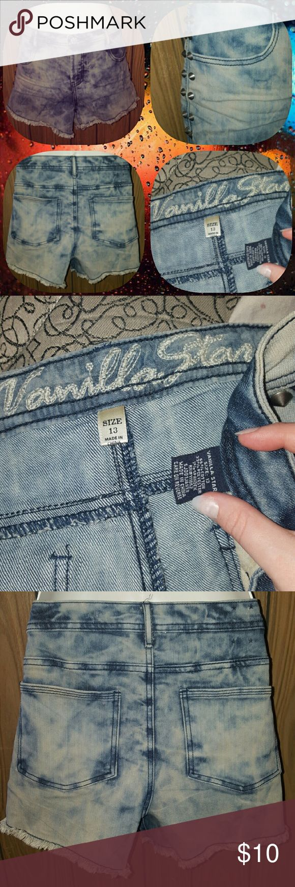 """Super cute """" acid wash"""" shorts Super cute size 13 acid wash grunge style shorts with little studs on sides, reposhing, got on here and To big for me but super cute for someone ele!! Shorts Jean Shorts"""