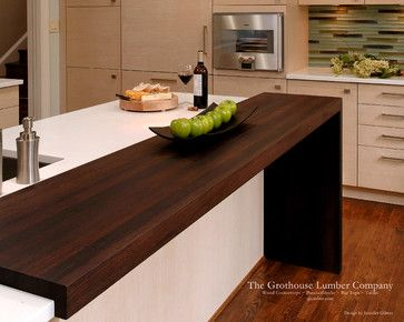 Contemporary Wenge Dark Wood Countertop by Grothouse contemporary kitchen countertops This makes it so much more custom/designer looking