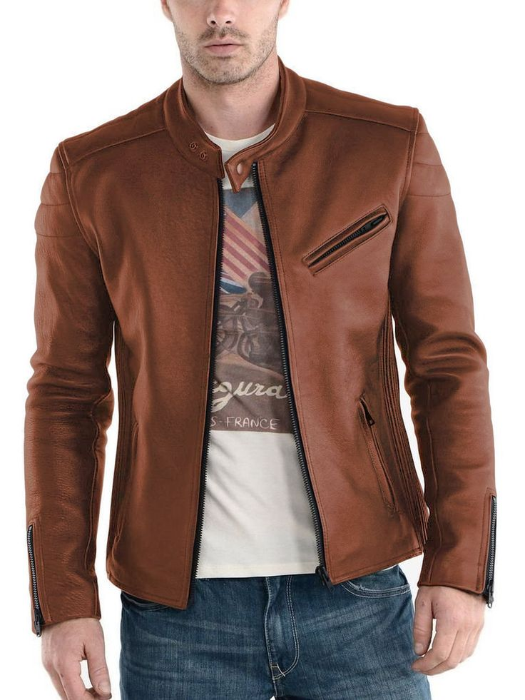 Laverapelle Men's Cognic Tan Genuine Lambskin Leather Jacket - 1510008 - Custom Size