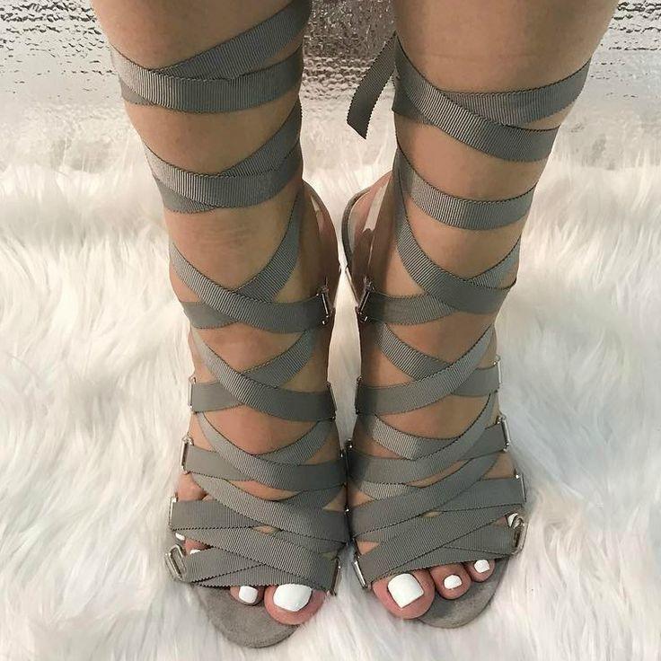 Vinyl Lace Up High Heels