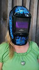 Miller Welding Helmet - Blue Skull Flamrs Digital Performance Auto Darken Lens