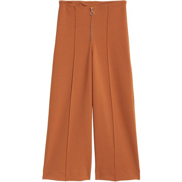 Wide-cut Pants $59.99 (3.385 RUB) ❤ liked on Polyvore featuring pants, browns jersey, zip pants, zipper pants, brown pants and thick pants