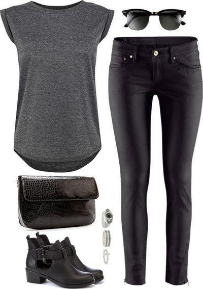 simples assim: t-shirt cinza + calça de couro + ankle boots preta. look rocker e estiloso