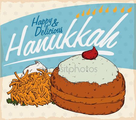 Retro Poster with Traditional Hanukkah Food with Sufganiyah and Latke