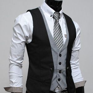 Mens premium Business Casual Layered style Slim Vest