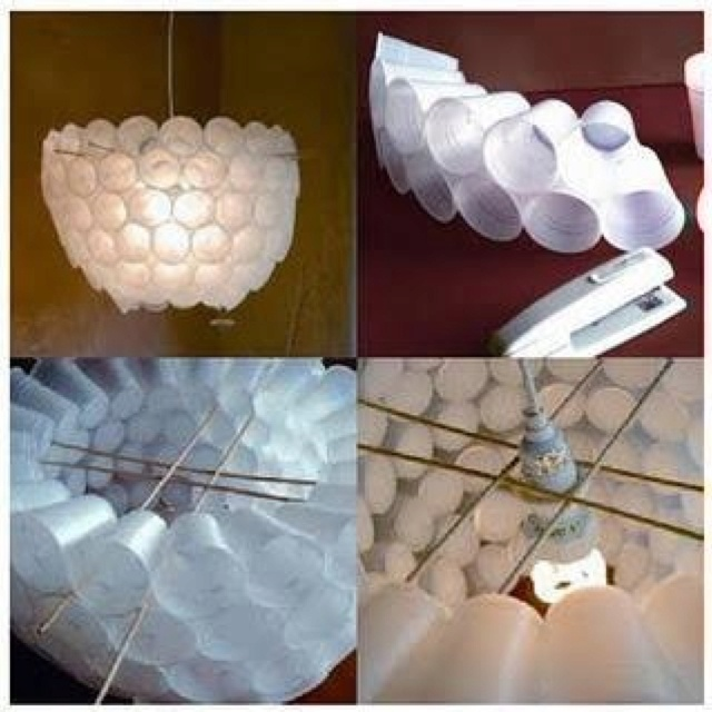 I made one of these 20 years ago with paper dixie cups great idea to suspend from a pendant lamp diy lampshades could make a huge chandelier