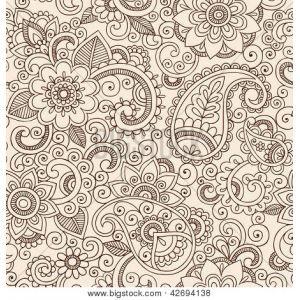 Хна Менди татуировки Рисунки Бесшовные Пейсли Pattern- Цветы Иллюстрация элементы дизайна изображения