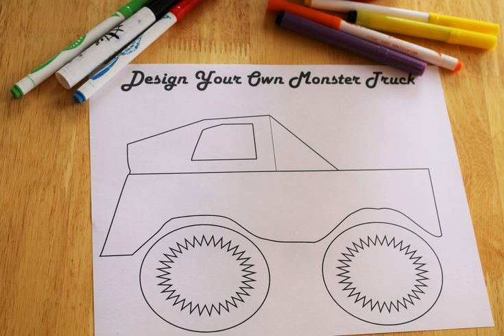 Free Monster Truck Coloring Sheet - Easy Monster Truck Birthday party activity