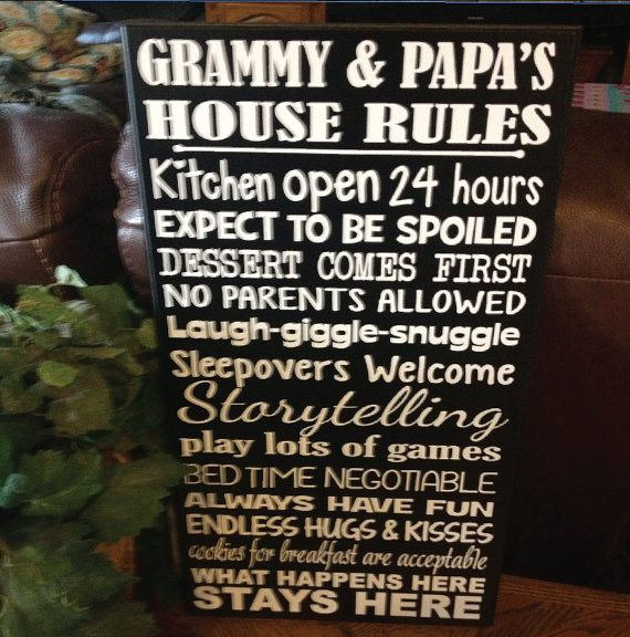 Grammy and Papas House Rules Vinyl Decor Board Wall by bWORDYtoo, $28.00