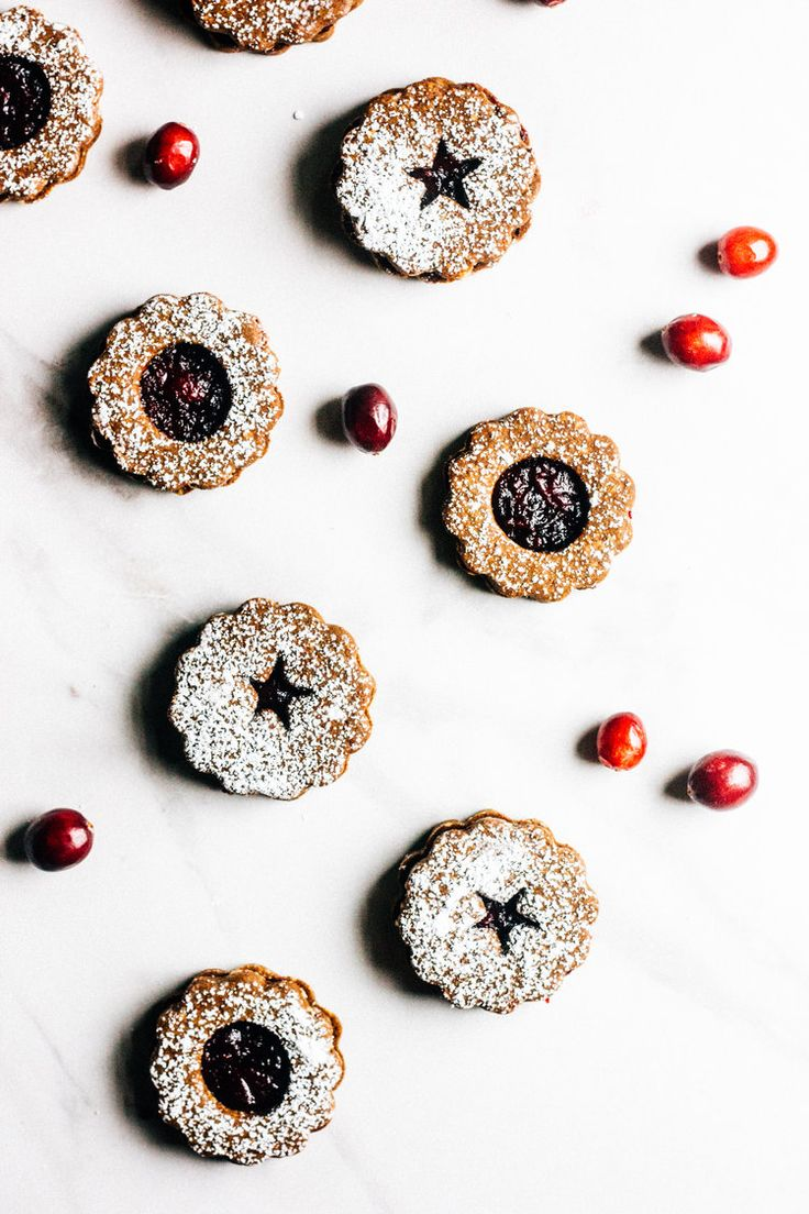 Gingerbread Cranberry Linzer Cookies from The Whole Bite