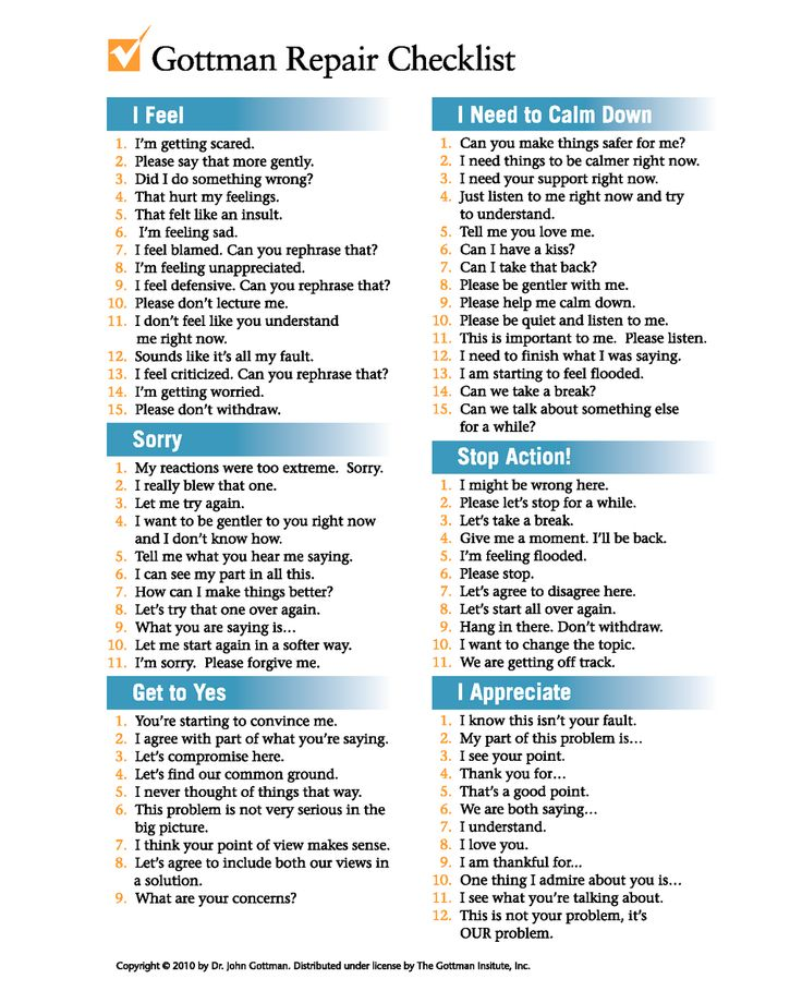 Communication skills, conflict management plus learning to deal & express emotions. Gottman's Repair Checklist - originally for couple counselling. But everyone should take 5 minutes to read the statements to start to enhance their own communication & assertiveness style.