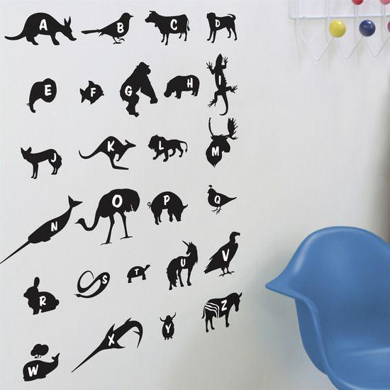 blik Black Alphabet Zoo ReStik Wall Stickers