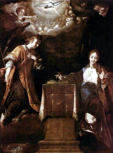Annunciazione.  Praga. Narodni  Galerie. Commissione  del segretario di Rodolfo II. Opera tarda del pittore, che si avvicina  a modi barocchi. 1613