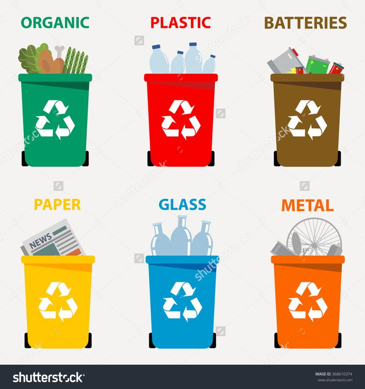 recycling color chart | Different colored recycle waste bins vector illustration, Waste types ...