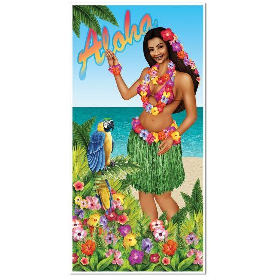 Deurposter Aloha 76 x 150 cm. Plastic deurposter met tropische achtergrond en Hawaiiaanse dame erop afgebeeld. Formaat: 76 x 150 cm.