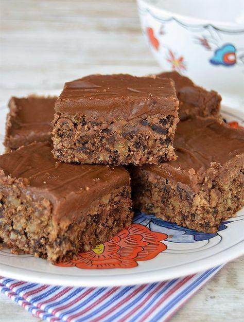 Cuadrados de almendras y chocolate
