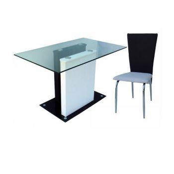 Set masa Domino bucatarie - varianta din imagine este ideala pentru decoratiunile in stil minimalist.Finisajele sunt deosebite, iar blatul este fabricat din sticla de 10 mm. Produsul este disponibil la pretul de 1150 Ron.