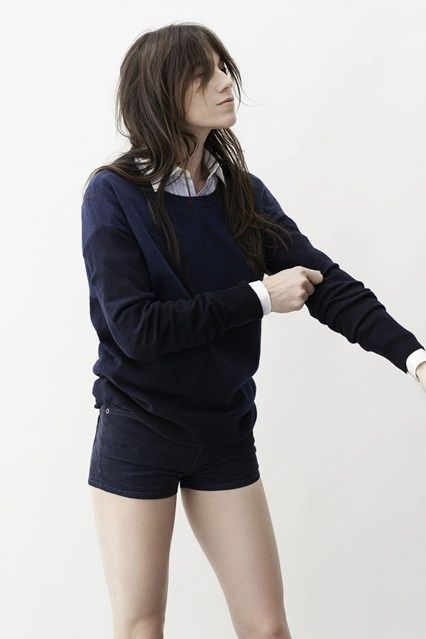 Preppy cool. Sweater hot pants and shirt. Charlotte gainsbourg